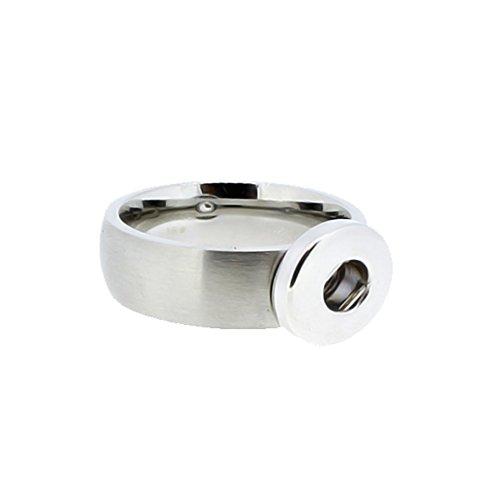 Akki Mini Chunks Edelstahl Ringe für druckknöpfe 12mm Amsterdam Schmuck Anhänger Chunk knöpf für Damen Druckknopf Silber Charms Click Button Schwarz größe 17,18,19, 20 17