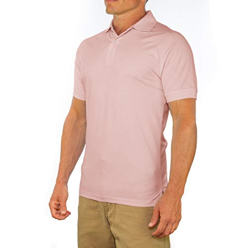 CC Perfect Slim Fit Polo Shirts for Men + Stretch | Breathable Sweat Wicking Short Sleeve Fitted Collared Mens Polo T Shirt Pink