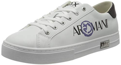 Armani Exchange Mina Cupsole Premium Low Top, Sneaker Mujer, OP.White+Black, 37 EU