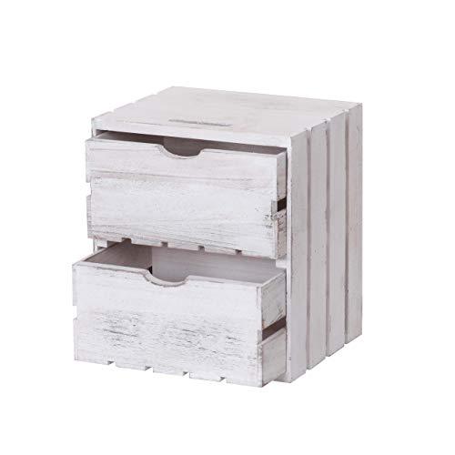 Mendler Kommode HWC-C62, Schubladenkommode Holzkiste, Shabby-Look Vintage, 2 Schubladen 36x32x26cm - weiß