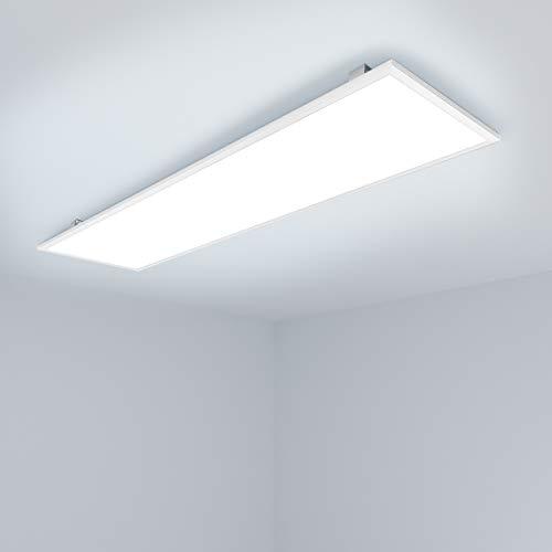 [PRO High Lumen]OUBO LED Panel 120x30cm Kaltweiß / 48W / 4300lm / 6000K / Weißrahmen Lampe dünn Ultraslim Deckenleuchte Wandleuchte Einbauleuchtenr, inkl. Trafo und Anbauwinkel