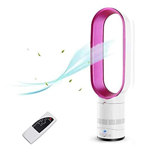 ZZXX Luft kühlventilatoren oszillierender Turmventilator Leise Negative Ionen Blattlüfter Fernbedienung Bodenventilator für Home-Office-Schlafzimmer, 65 x 20 cm,Rosa