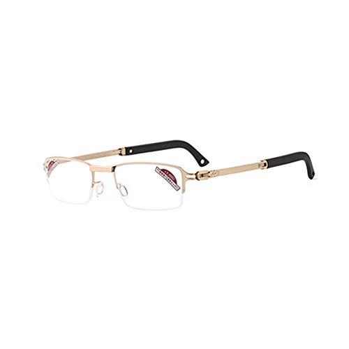 CAOXN Gafas De Lectura para Presbicia, Patillas Retráctiles Y Lentes De Resina, Lupas Anti-Fatiga Que Bloquean La Luz Azul,Oro,+3.00