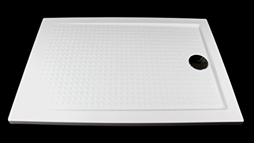 Art-of-Baan® - Superflache Duschwanne Duschtasse 100x80 Komplettes Set Weiß Acryl Hochglanz 3,5cm inkl. Ablaufgarnitur