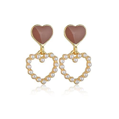 DJMJHG Nuevos Pendientes de Gota de Doble corazón con Perlas, Bonitos Pendientes Coreanos de Moda para Mujer, Pendientes de joyería de Boda para Fiestas
