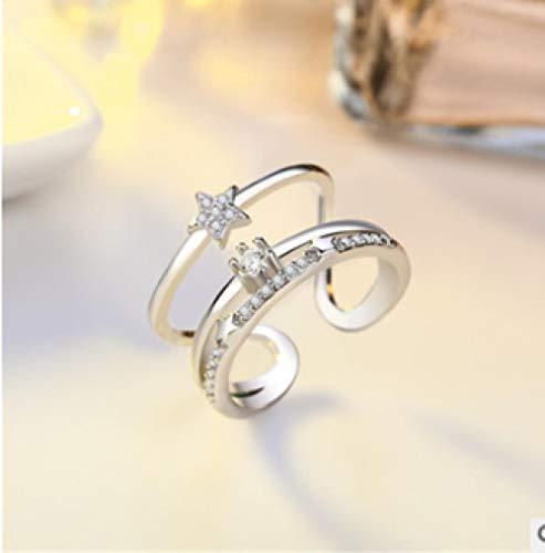 PRAK Damen Ring 925 Sterling Silber Verstellbar,Sekt Cute Fox Tier Styling Fashion Student Style Bankett Wesentliche Kleidung