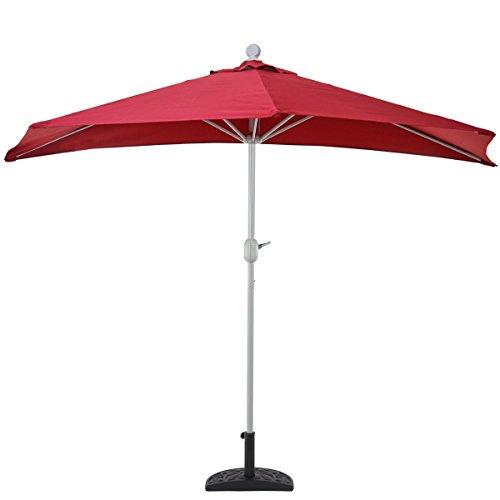 Mendler Sonnenschirm halbrund Parla, Halbschirm Balkonschirm, UV 50+ Polyester/Alu 3kg ~ 300cm terrakotta ohne Ständer