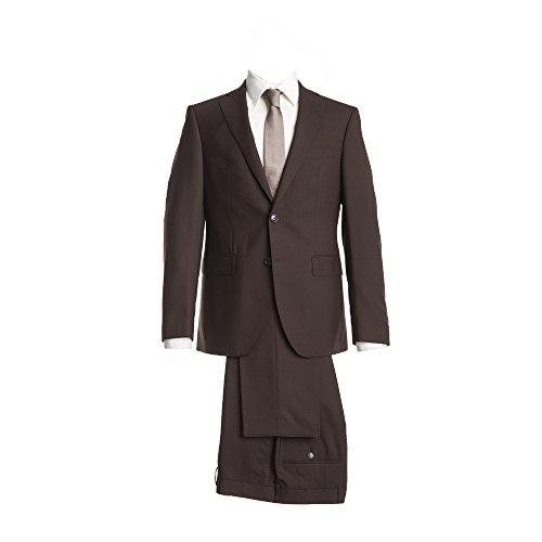 Barutti Anzug Dunkelbraun Uni Tailored Fit taillierter Schnitt 100% Pure Wool Schurwolle Super 100S Sakko Tarso AMF Hose Tosco 48