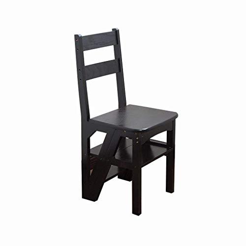 LSNLNN Ladders, vouwstoelen, massief houten trapladders frame vier-laags bloem vier stappen houten ladder meerdere toepassingen ladderkruk kinderstoel voor het trimmen van bladeren, zwart, 36,5 * 46,5 * 90 cm