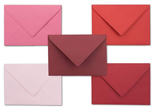 40x Umschlagpaket - DIN C6 - ca. 11,4 x 16,2 cm - die Roten - 5 Farben je 8 Umschläge - 120 g/m² - Serie Farbenfroh