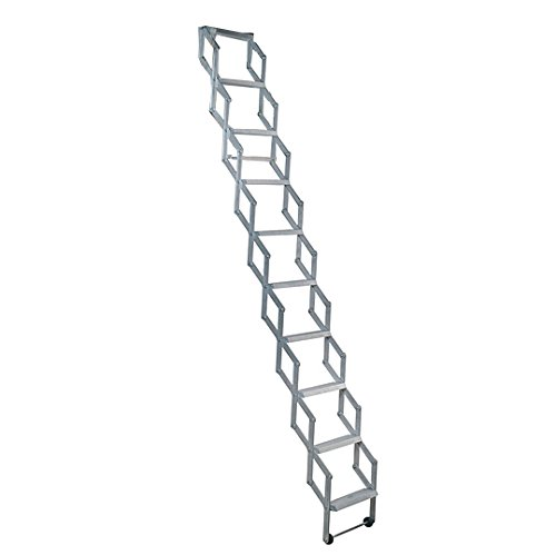 Alufix 1502-004 - Escalera de ático retractable (2,19 a 2,46 m, 9 peldaños)