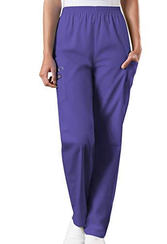 Cherokee Women's Workwear Elastic Waist Cargo Scrubs Pant, Grape, XXX-Large