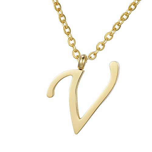 Morella Damen Halskette mit Buchstabe V Anhänger Edelstahl Gold in Schmuckbeutel