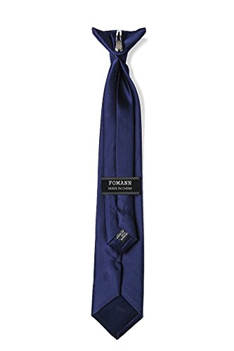 Mens Clip on Ties Solid Uniform Clip-on Neck Ties for Police and Security Pullaway Clip Ties (Navy Blue)