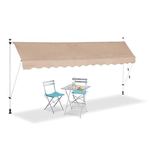 Relaxdays, beige Klemmmarkise, Balkon Sonnenschutz, einziehbar, Fallarm, ohne Bohren, höhenverstellbar, 400 cm breit
