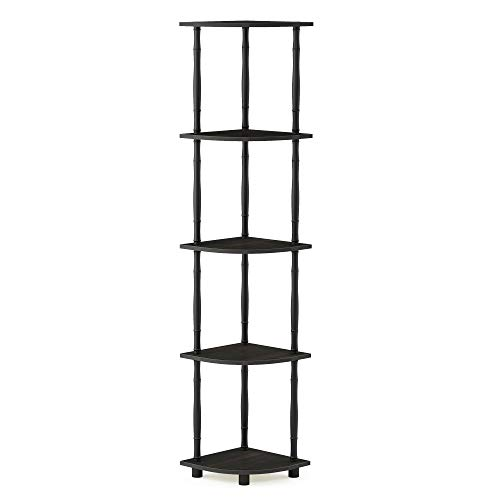 MyGift 5-Shelf Industrial Metal & Wood Bookcase/Decorative Home Shelving Unit for Display Storage and Organization, Dark Brown