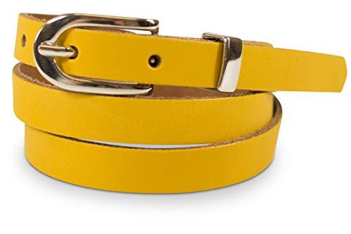 fashionchimp ® Basic Damengürtel aus 100% echtem Leder, schmaler Gürtel, Breite ca. 1,5cm, Made In Germany (Senfgelb, 110/BW95)