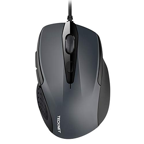 TECKNET 6-Button USB Wired Mouse with Side Buttons, Optical Computer Mouse with 1000/2000DPI, Ergonomic Design, 5ft Cord, Support Laptop Chromebook PC Desktop Mac Notebook-Grey (Renewed)