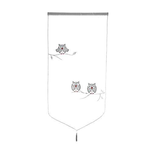 Souarts 1PC Rideau Brise Bise Rideau Voilage Motif Hibou Broderie pour Décoration Chambre Salon (60x120cm)