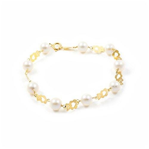 Pulsera Niña oro Oso calado con perlas