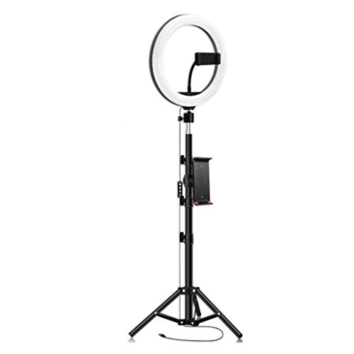 Selfie Light Luz de Anillo 10' con Soporte de Trípode, Luces LED Círculos con Soporte de Teléfono Celular Lámpara LED de Escritorio con 3 Modos de Luz 10 Nivel de Brillo Maquillaje
