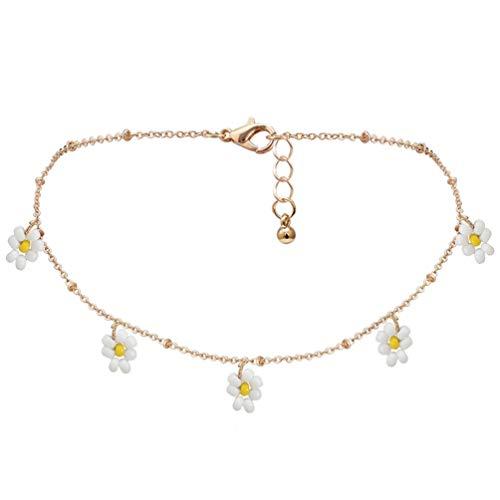 Happyyami Boho Perlen Blume Halsreif Halskette Gänseblümchen Samen Perlen Halsreif Handgefertigte Kette Blumen Halsketten Schmuck für Frauen Mädchen Geschenke (Weiß)