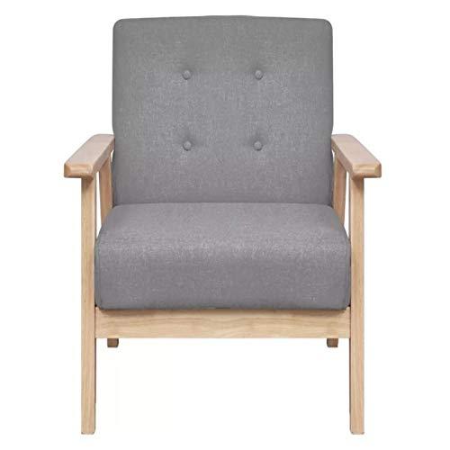 Silla de bienvenida con reposabrazos de madera, sofá de salón con cojín confort nórdico para salón, oficina, dormitorio, hotel, tienda, cafetería, 64,5 x 67 x 73,5 cm