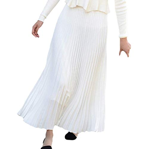 Women's Classic High Waist Pleated A-Line Maxi Skirt Casual Elastic Waist Accordion Long Skirts (Free Size, White)