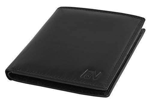 Fa.Volmer, Schwarze Echtleder-Brieftasche für Damen und Herren im Querformat