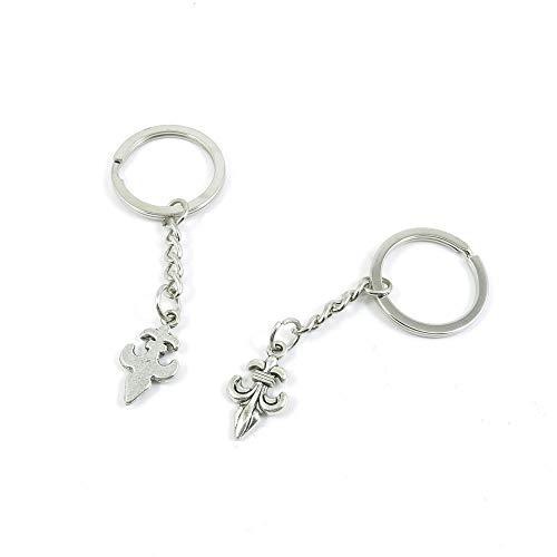 100 llaveros de plata envejecida Q7BY8D con diseño de flor de lis, lirio, anillo para hacer joyas