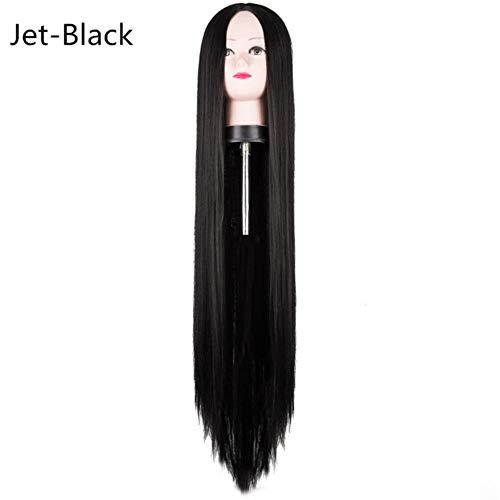Ltong Pruik Synthetisch Hittebestendig 100 CM 40 Lang Recht Kostuum Halloween Carnaval Witte Dames Dame Haar voor Feest Salon, Gitzwart, 38 inches