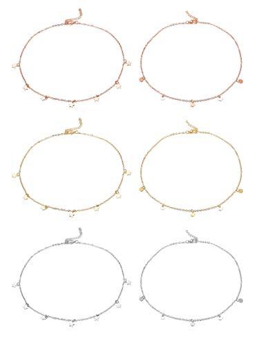 CASSIECA 6 Stück Zarte Kette Sterne für Damen Mädchen Wundervoller Runder Choker Schmuck Plättchen Halskette in Farbe Rose-Gold und Silber und Gold