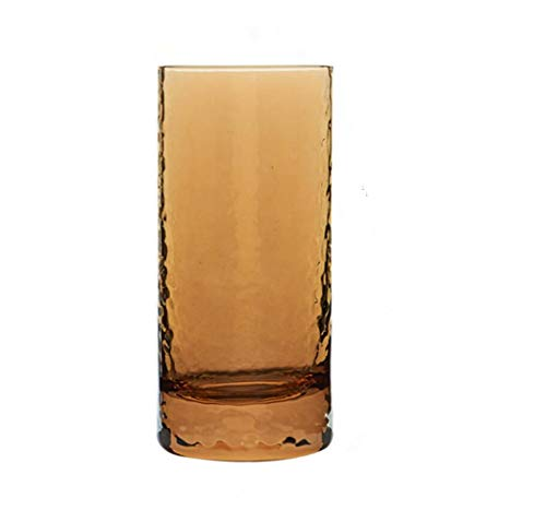 Vaso de cerveza sin plomo, cristal ámbar marrón, vaso de whisky, vidrio vintage en relieve, romántico para bebidas de agua