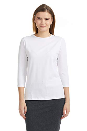 ESTEEZ Womens 3/4 Sleeve Top Relaxed Fit EX801136 White Medium