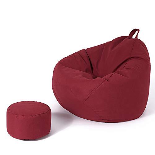 BHAHFL Silla Bean Bag Sillón Lounge Bean Bag Sofá Sofá Perezoso Forma De Gota De Agua Cómodo Y Suave Diseño Extraíble Manija Balcón Dormitorio Sillón reclinable Individual con Revestimiento,Wine Red