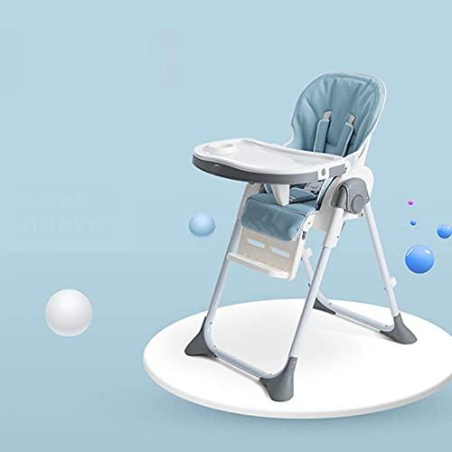 Trona de bebé - Silla de alimentación convertible con bandeja doble extraíble y arnés de seguridad de 5 puntos, respaldo reclinable y plegable, color azul