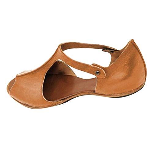Berimaterry Sandalias Mujer Verano 2019 Fiesta Sandalias Mujeres Bohemia Verano Planos Moda Casual Elegante Peep Toe Shoes Sandals Zapatos De Playa Romanas Retro Transpirables Gruesas Inferiores