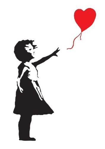 BANKSY GIRL WITH HEART BALLOON VINYL WALL ART DECAL STICKER 120CM (H) X 60CM (W) by WALL STICKER WORLD