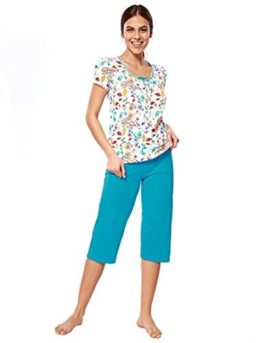 Pijama Camiseta con pasacintas y Tapeta de Botones con jaretas Mujer - 037088