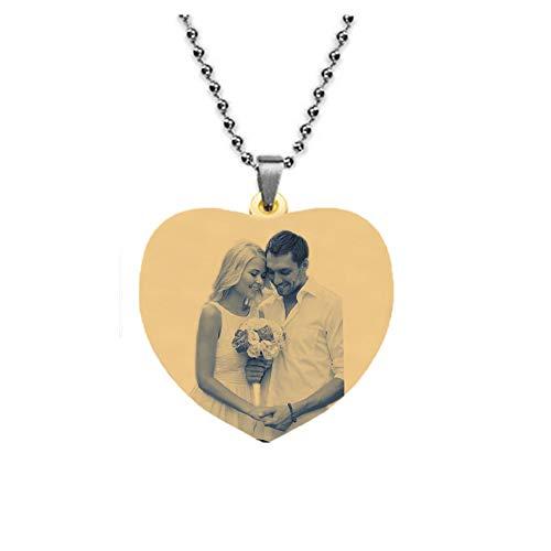 TWinkle Kette Damen Herren Halskette mit Fotogravur und Textgravur,personalisierte Foto Anhänger Muttertagsgeschenke(Gold Titan-Schwarz und Weiß-28)