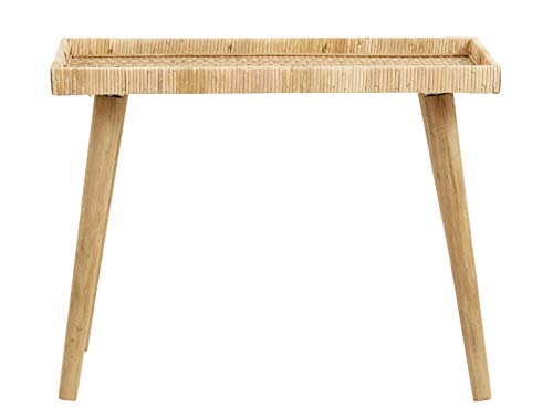 Nordal Beistelltisch Rivas aus Rattan und Holz 55x70x33 cm Wohnzimmertisch Ablage Bohostil