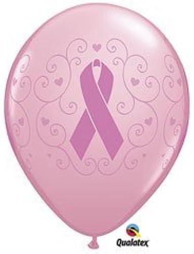 Breast Cancer Awareness Latex Balloons 11 Rosa Ribbon by Qualatex