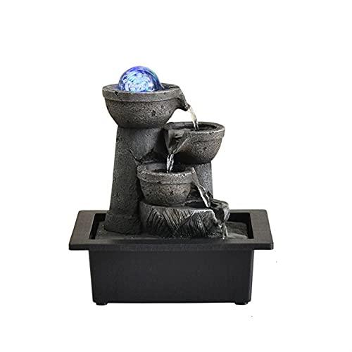 ZZLLFF DIRIGIÓ Lucky Wealth Transfer Ballo Rockery Waterfall Fluir Agua Desktop Fountain Resin Paisaje Adorno Decoración del hogar (Color : 21037, Size : 220V EU Plug)
