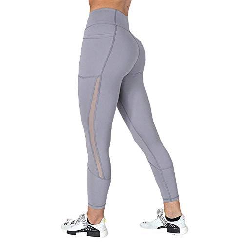 Ducomi Kai Leggings für Damen, Handytasche und Transparenz, für sexy Look im Fitnessstudio und zu Hause, atmungsaktiv, maximaler Komfort, für Aktivitäten, Yoga, Pilates und Fitness, Grau S