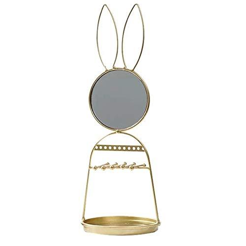 Cajas para joyas Pantalla organizadora del organizador de la joyería del conejo lindo de la exhibición del organizador con el espejo redondo for los pendientes y el anillo de la pulsera del collar Joy