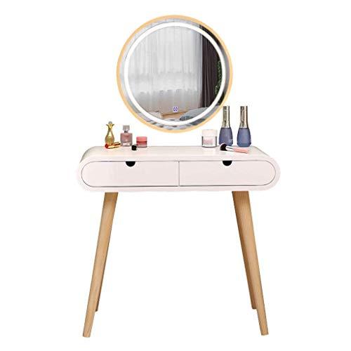 Daily Equipment Tocador de mesa de tocador Tocador blanco con pantalla táctil LED iluminada que atenúa el espejo redondo Tocador de maquillaje Cajones deslizantes para Lady Girl Juego de tocador de
