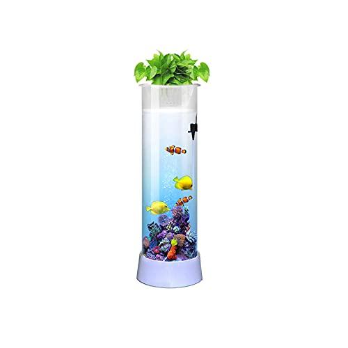 Pecera Familiar Vertical Cilíndrica, Acuario para Sala De Estar Y Oficina, Pecera De Vidrio Sin Cambio De Agua, Pecera Dorada,131cm
