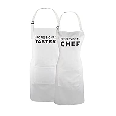 Fodiyaer Mr and Mrs Aprons Professional Chef and Taster Gift for Couples Wedding, Anniversary, Newlywed, His and Hers Cooking Chef Apron
