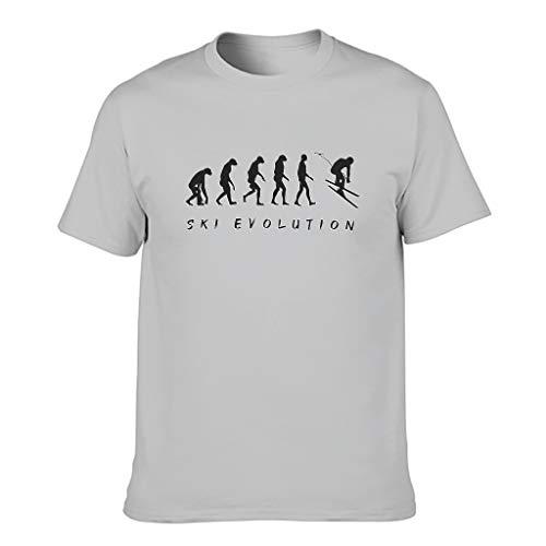 Camiseta de algodón para hombre, diseño de evolución de esquí. Gris plateado. S