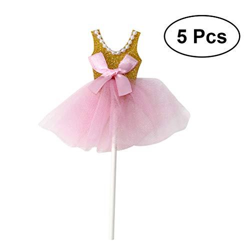 TOYMYTOY Glitzer Prinzessin Tutus Kleid Kuchen Toppers - Ballerina Rock Cupcake Picks für Mädchen Geburtstag Thema Party (Golden) - Packung mit 5